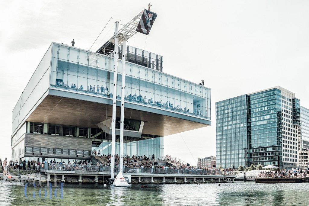 The ICA serving as a platform for divers during the Red Bull Cliff Diving World Series