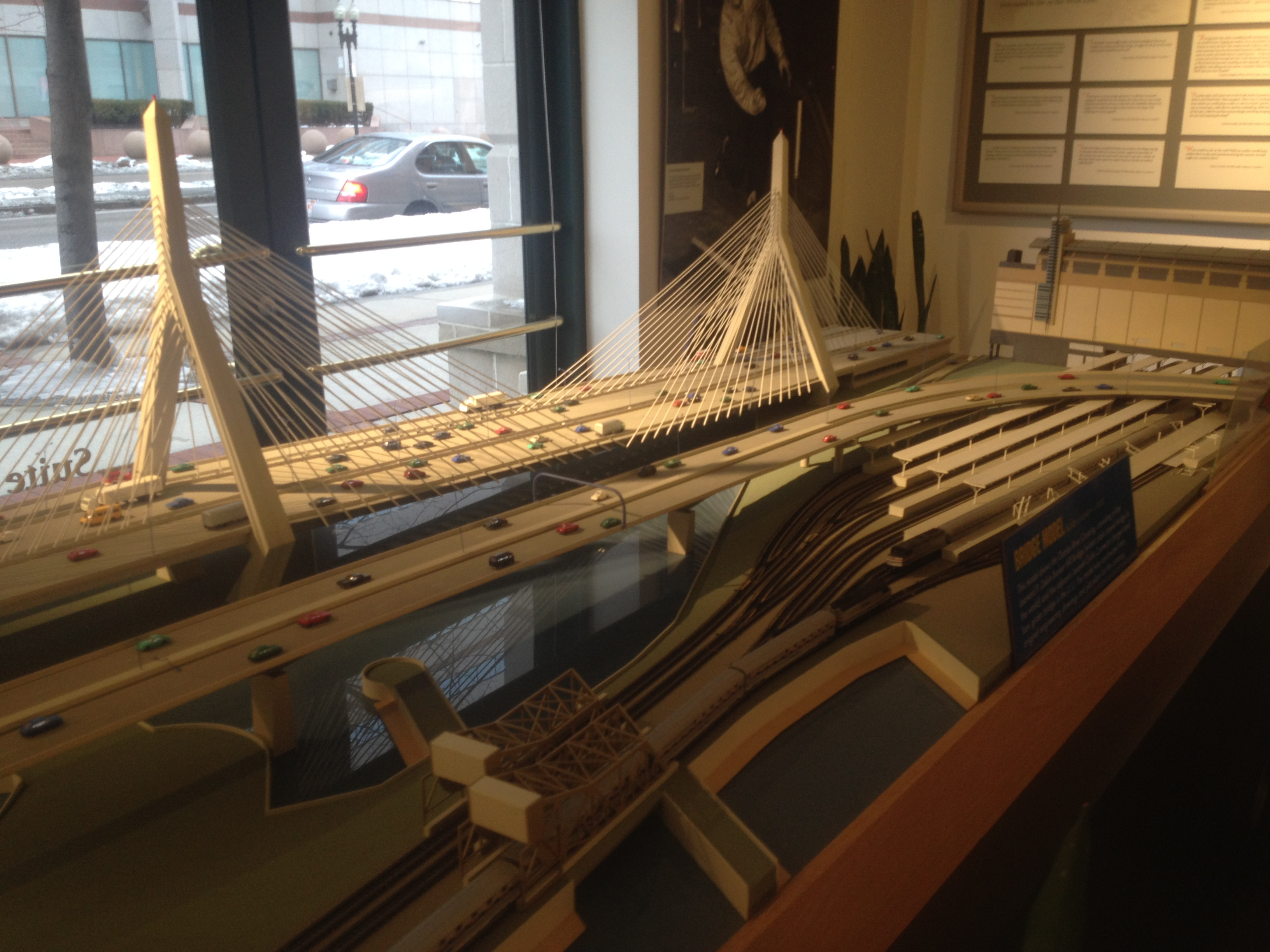 A model of the Zakim Bridge at the West End Museum