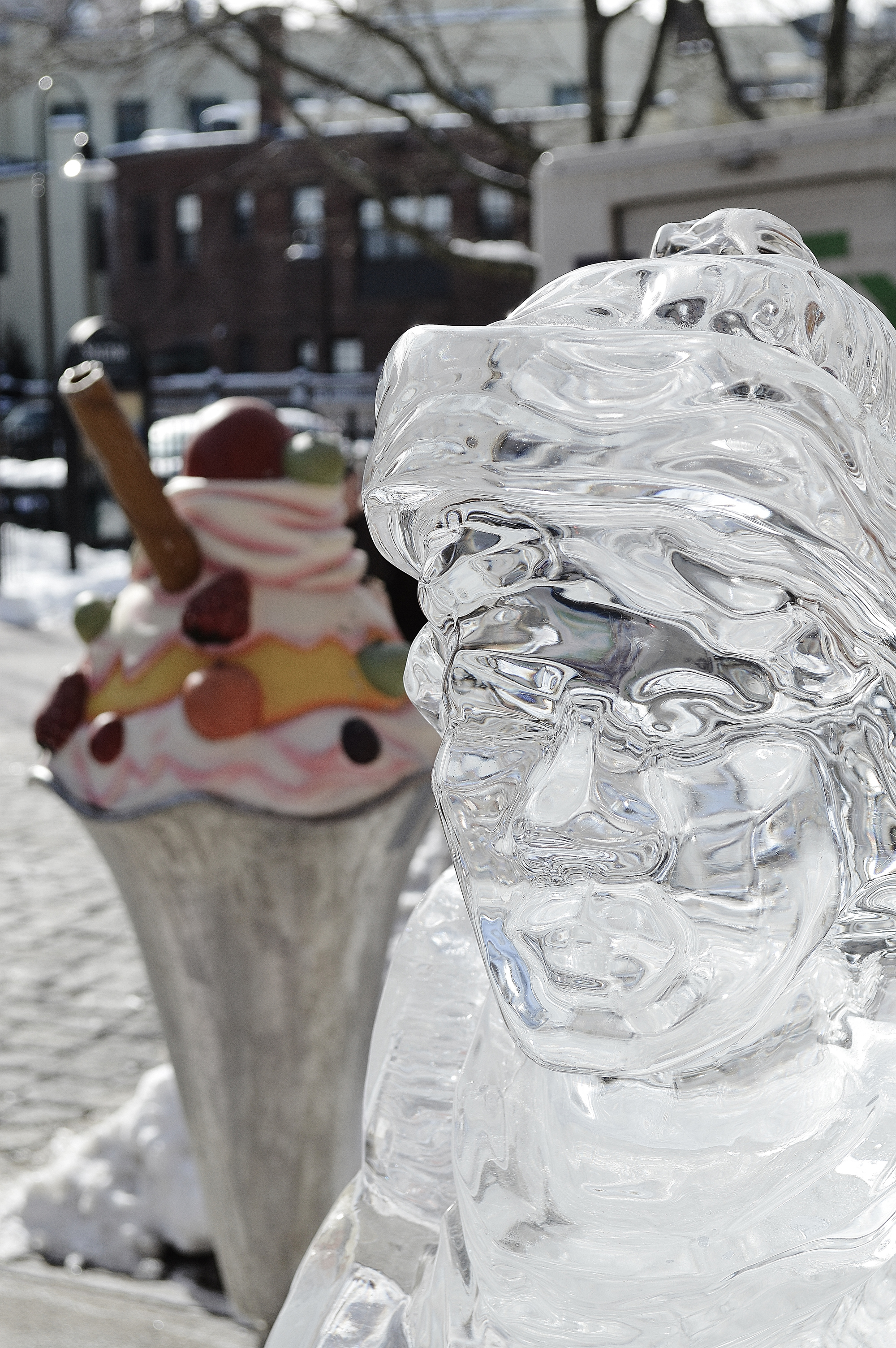 Salem's So Sweet Chocolate and Ice Sculpture Festival Ice Skater sculpture smaller