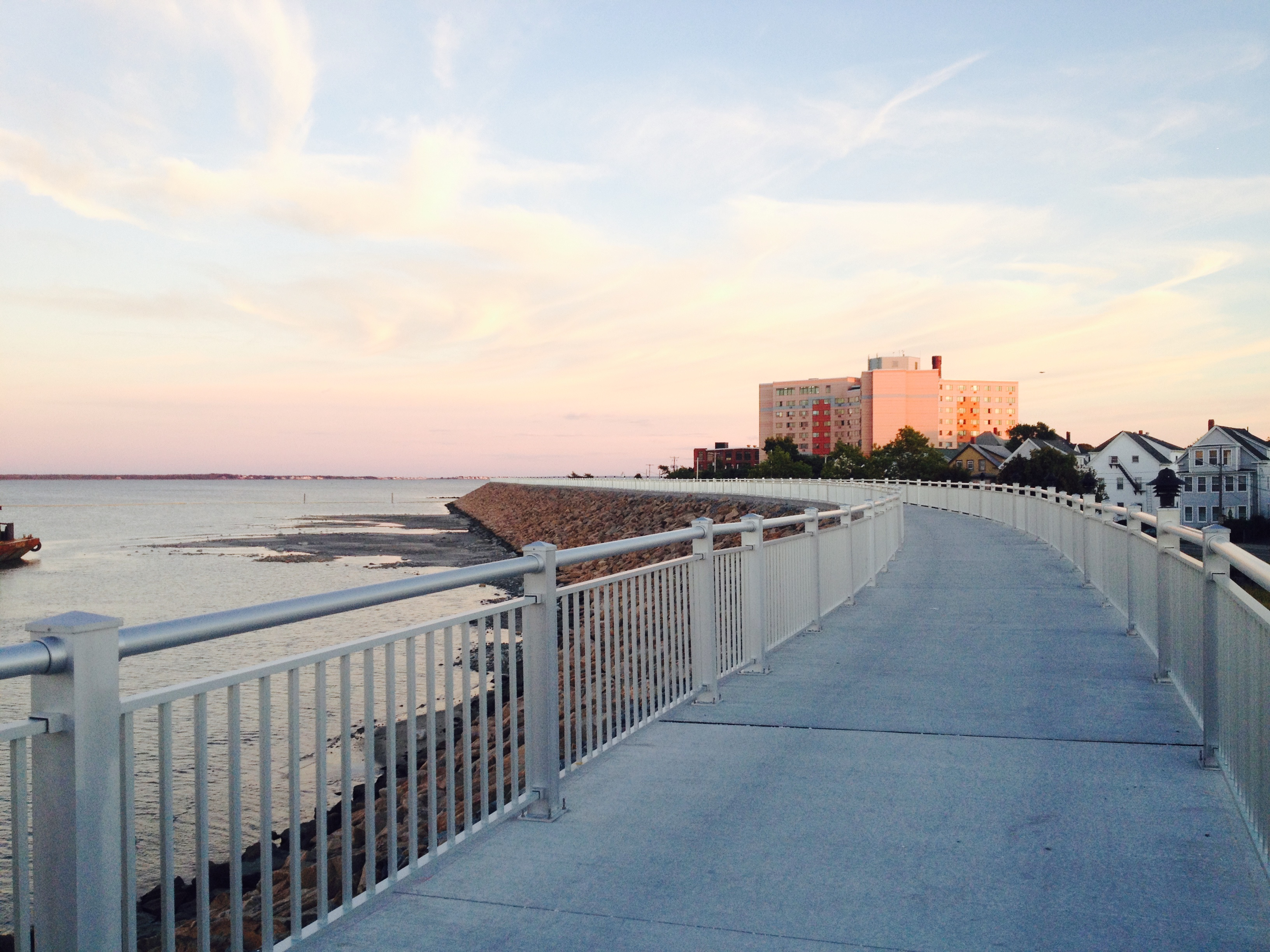 Harborwalk at sunset in New Bedford